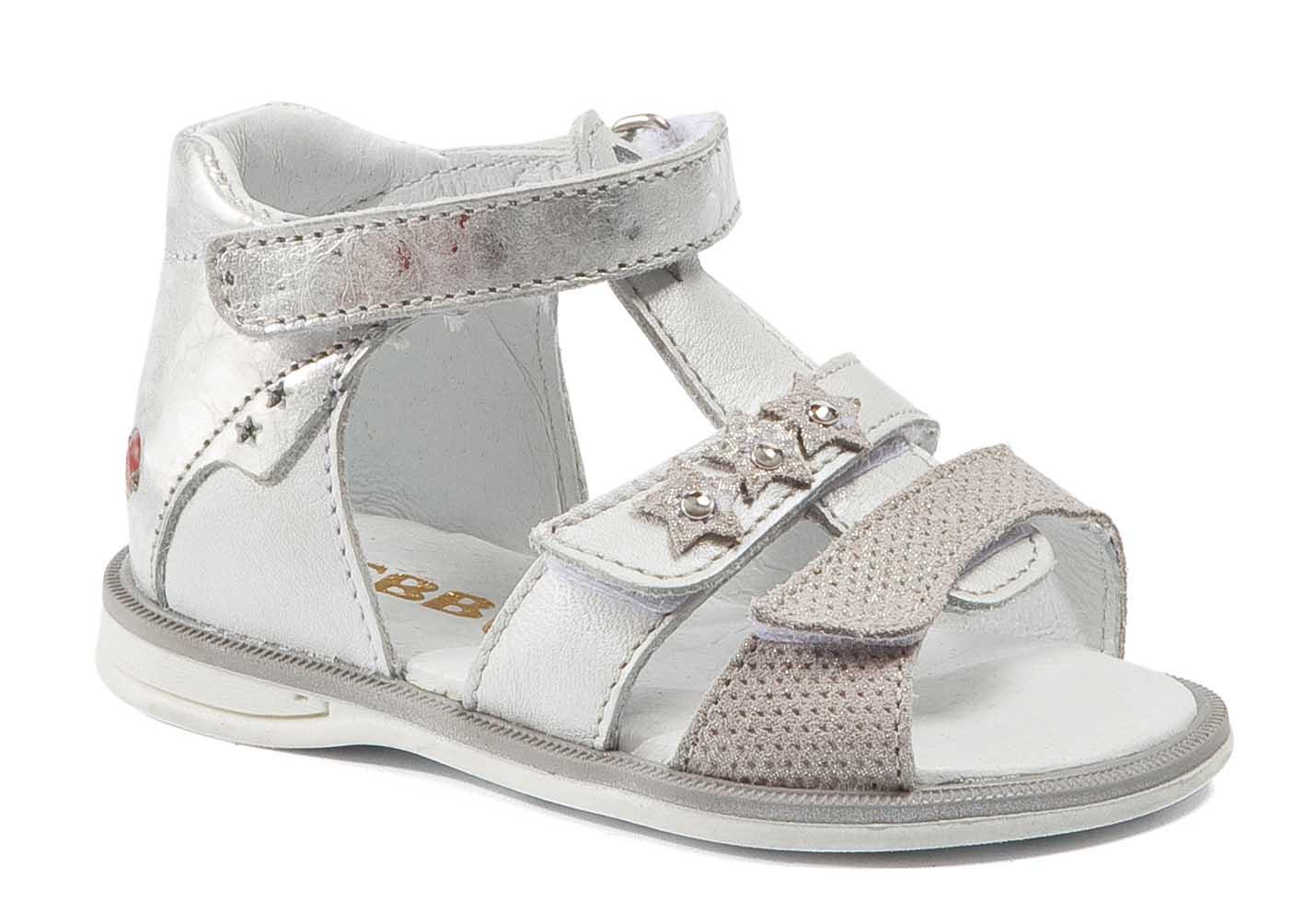 d5b194468b3f6 Gbb   chaussure enfant nu pied blanc argent ouvert devant velcros