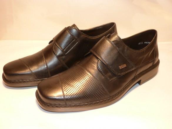 d8bb5078bb17 Chaussure Rieker mocassin velcro noir cuir